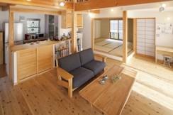 開放的なリビングのある家